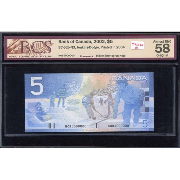 MILLION # - Bank of Canda $5, 2002