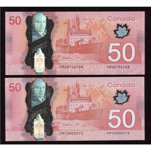 Fancy Numbers Bank of Canada $50 2012 - Lot of 2