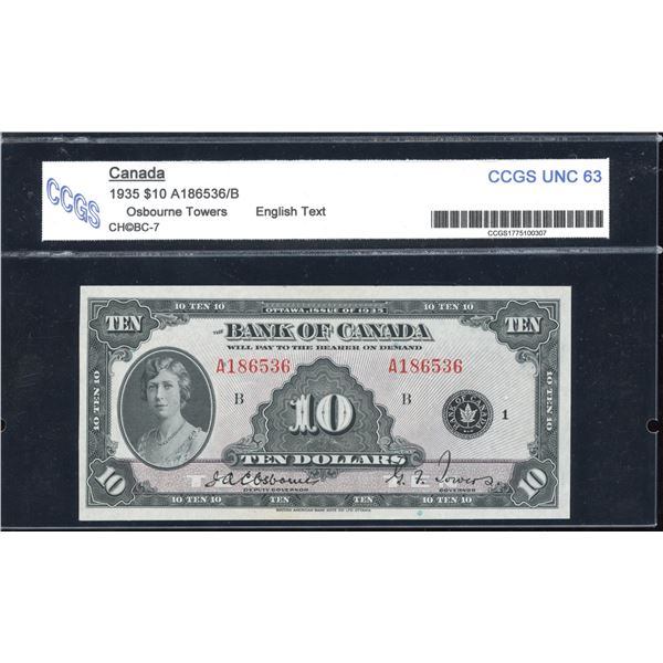 Bank of Canada$10, 1935