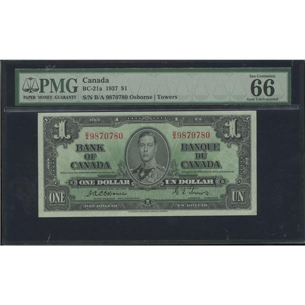 Bank of Canada $1, 1937 - Osborne Signature - Victoria's Collection