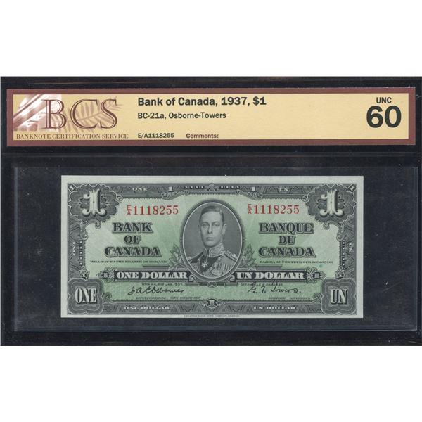 Bank of Canada $1, 1937 - Osborne Signature