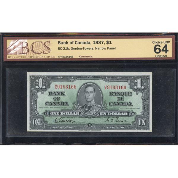Bank of Canada $1, 1937 - H/A Narrow Panel