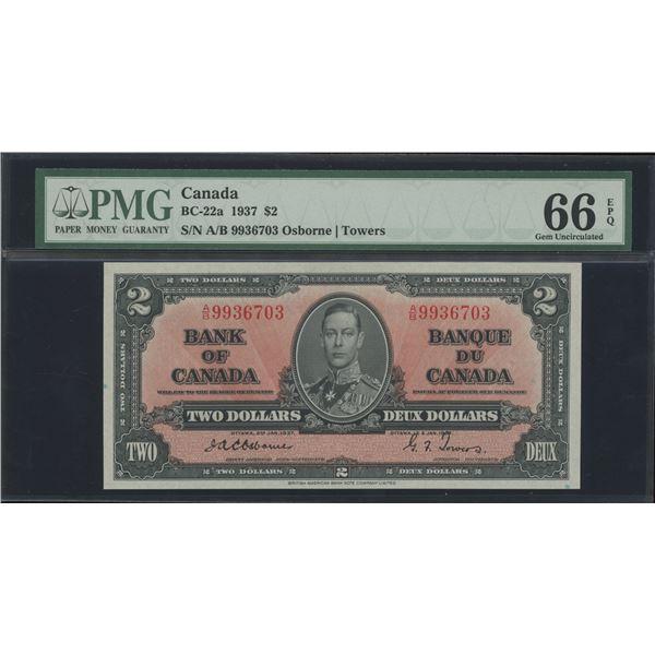 Bank of Canada $2, 1937 - Osborne Signature - Victoria's Collection