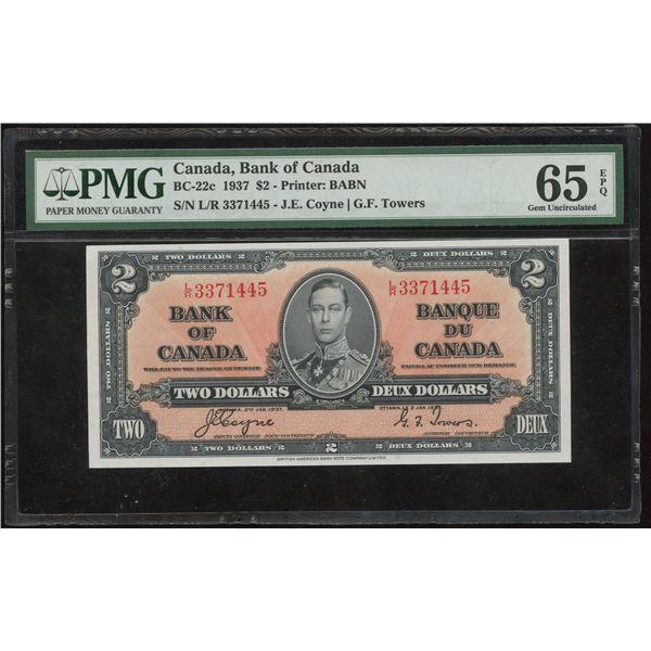 Bank of Canada $2, 1937 - Transition Prefix