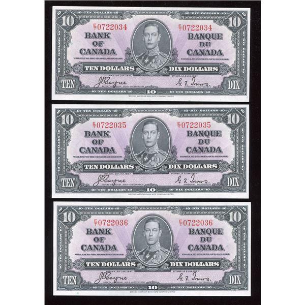 Bank of Canada $10 1937 - Lot of 3 Consecutive