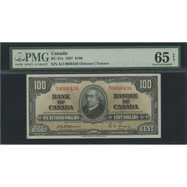 Bank of Canada $100, 1937 - Osborne Signature - Victoria's Collection