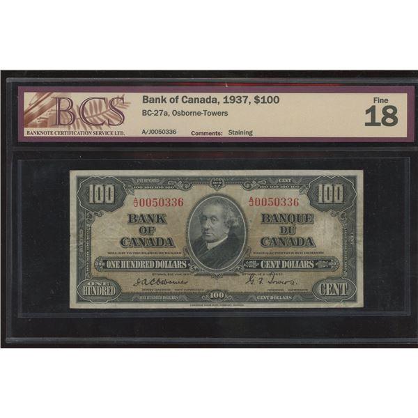 Bank of Canada $100, 1937 - Osborne Signature