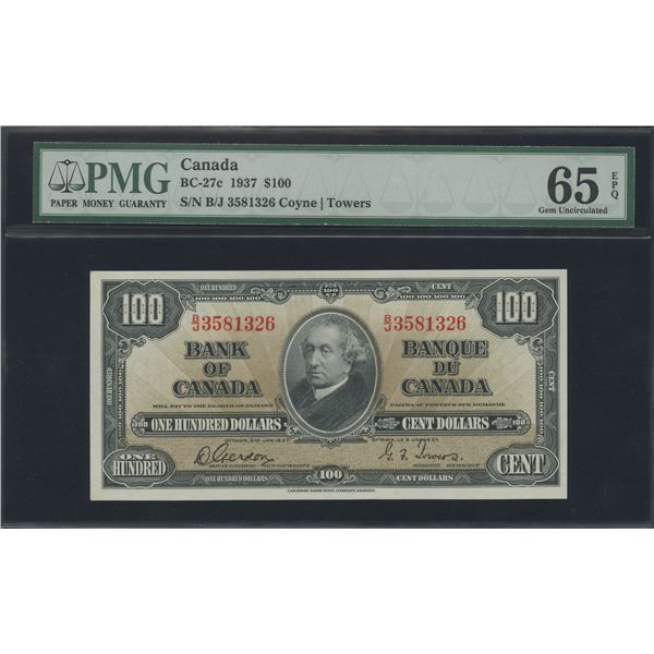 Bank of Canada $100, 1937 - Victoria's Collection