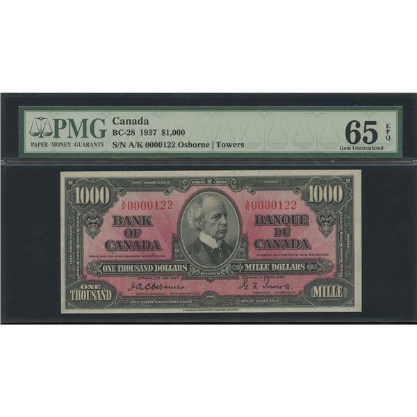 Bank of Canada $1000, 1937 - Osborne Signature - Victoria's Collection