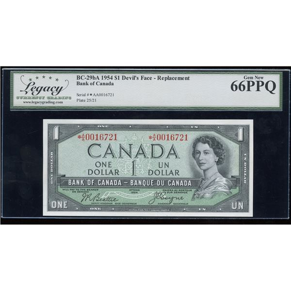 H. Don Allen Collection - Bank of Canada $1, 1954 Devil's Face Replacement - Rare