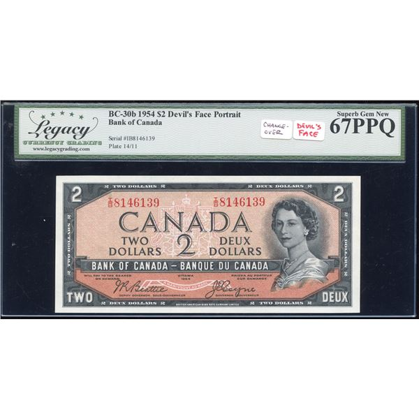 Bank of Canada $2, 1954 - Devil's Face - I/B Changeover