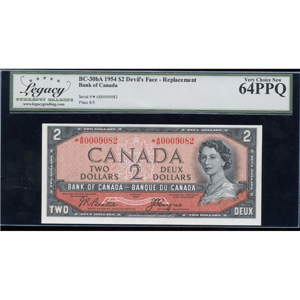 H. Don Allen Collection - Bank of Canada $2, 1954 Devil's Face Replacement - RARE
