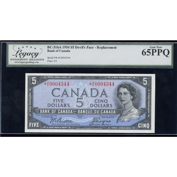 H. Don Allen Collection - Bank of Canada $5, 1954 Devil's Face Replacement - Trophy Note