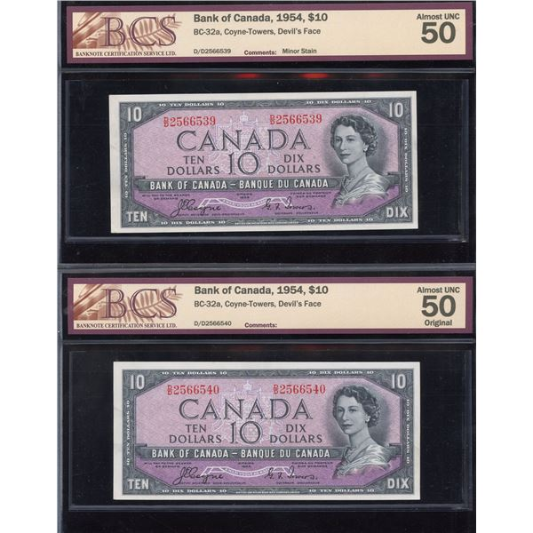 Bank of Canada $10, 1954 Devil's Face - 2 Notes