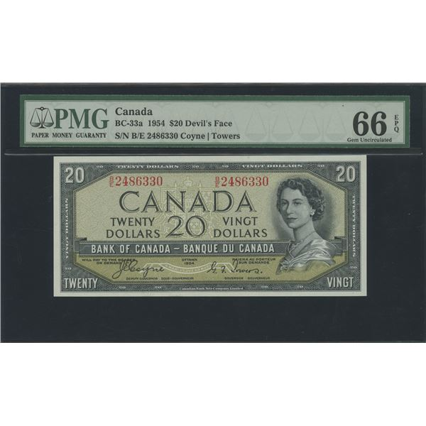 Bank of Canada $20, 1954 Devil's Face - Victoria's Collection