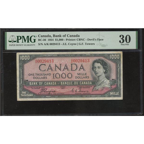 Bank of Canada $1000, 1954 Devil's Face - Rare