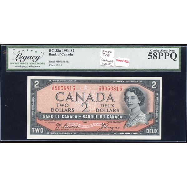 Bank of Canada $2, 1954 - I/B Rare Changeover