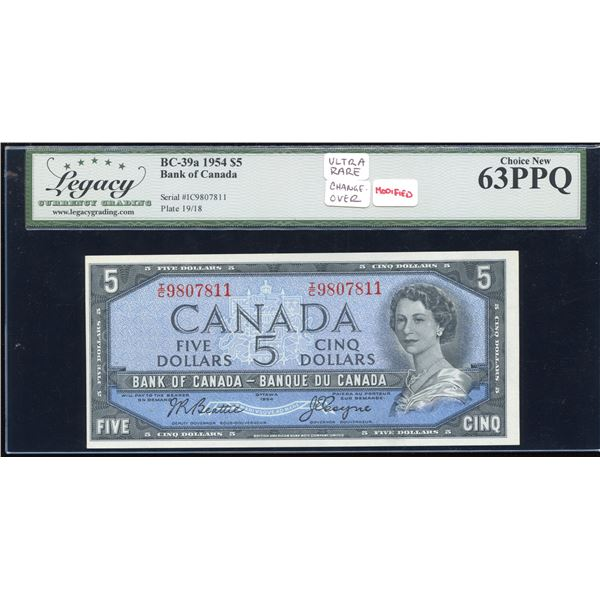 Bank of Canada $5, 1954 - I/C Rare Changeover
