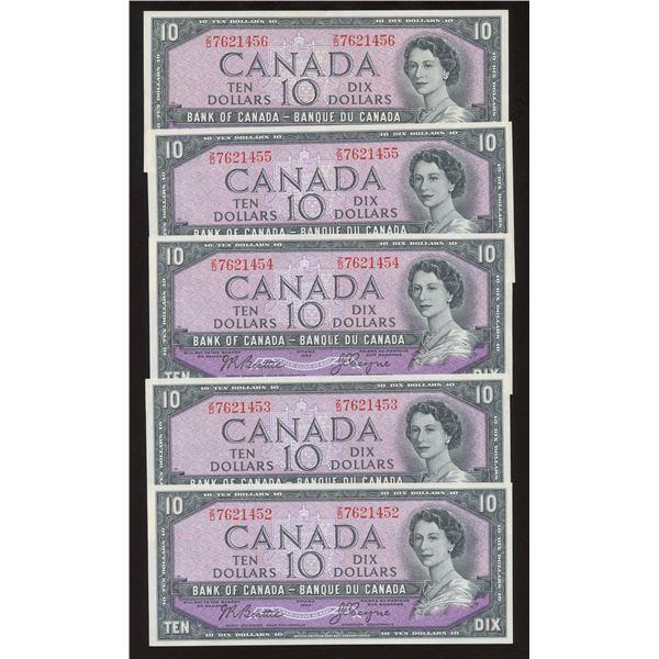 Bank of Canada $10, 1954 - Lot of 5 Consecutive
