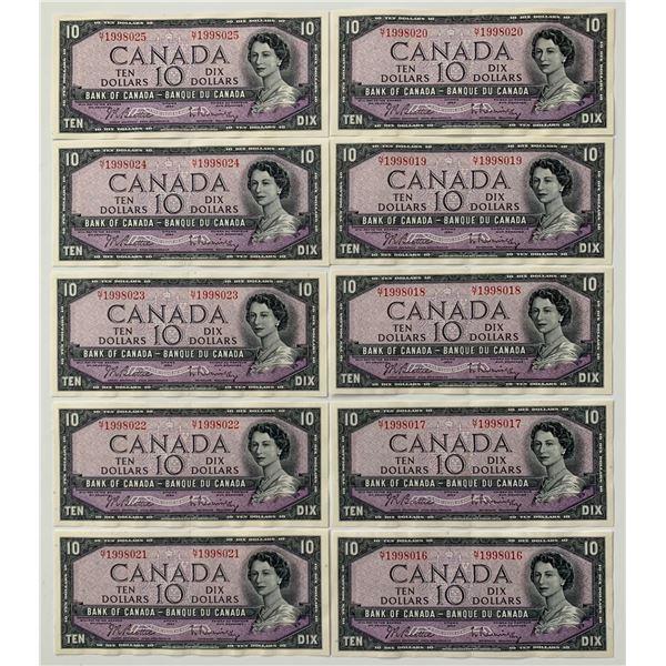 Bank of Canada $10, 1954 - Lot of 10 Consecutive