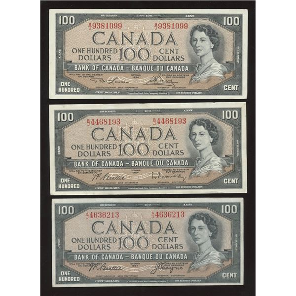 Bank of Canada $100, 1954 - Lot of 3 Signature Types