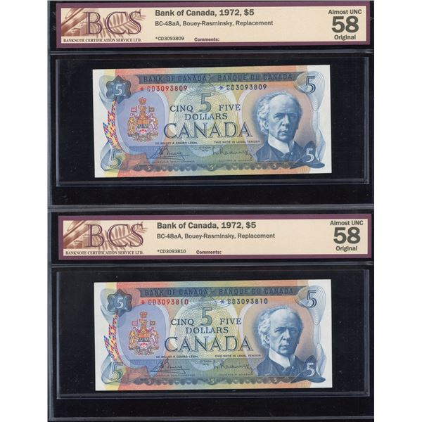 Bank of Canada $5, 1972 *CD Replacements - 2 notes