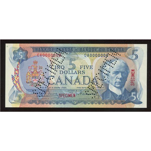 Bank of Canada $5, 1972 Specimen