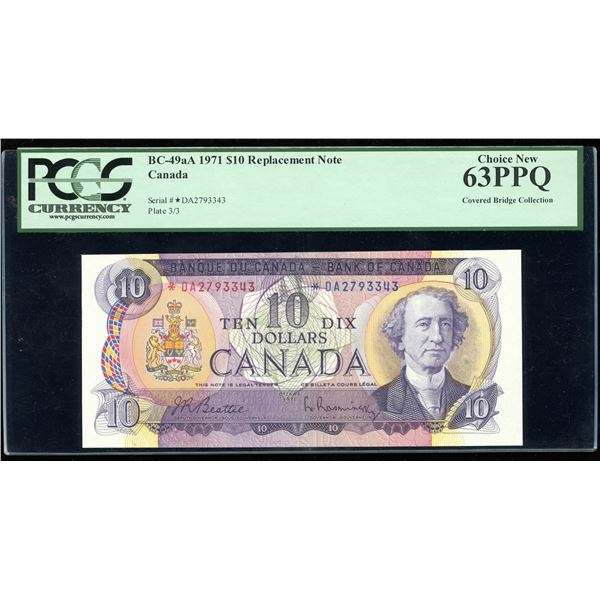 Bank of Canada $10, 1971 - *DA Replacement