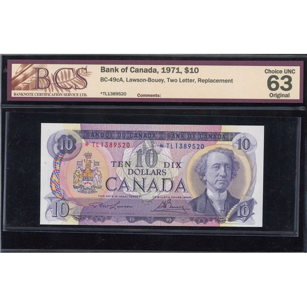 Bank of Canada $10, 1971 - *TL Replacement