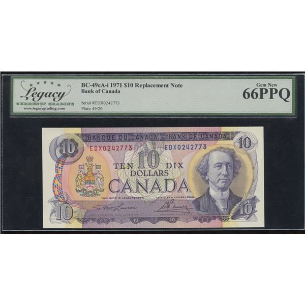 Bank of Canada $10, 1971 - EDX Replacement Note