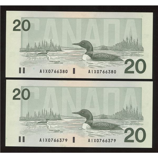 Bank of Canada $20, 1991 - Lot of 2 Consecutive AIX Replacements