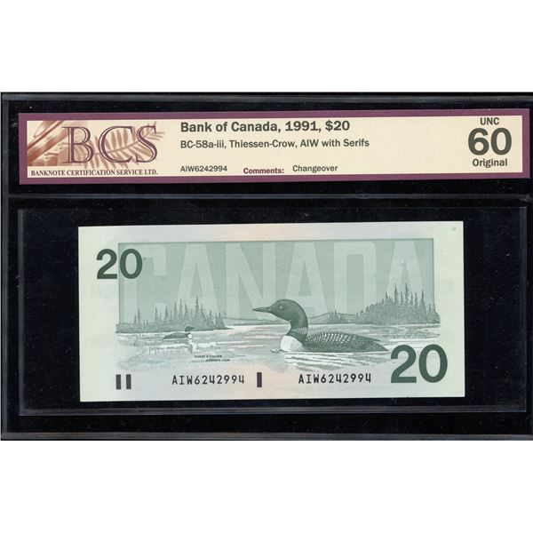 Bank of Canada $20, 1991 AIW with Serifs Changeover
