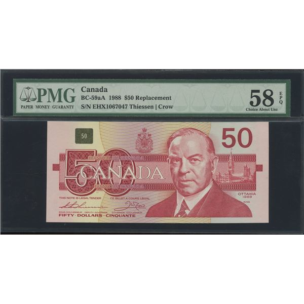 Bank of Canada $50, 1988 - EHX Replacement - Victoria's Collection