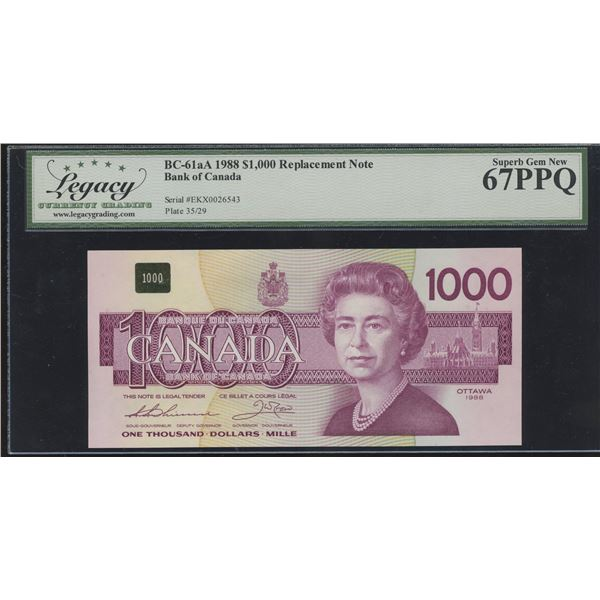 Bank of Canada $1000, 1988 - Replacement (Rare)