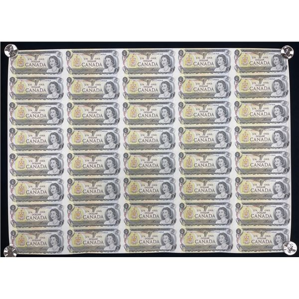 Bank of Canada $1, 1973 - Uncut Sheet of 40 Notes