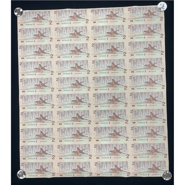 Bank of Canada $2, 1986 - Uncut Sheet of 40 Notes