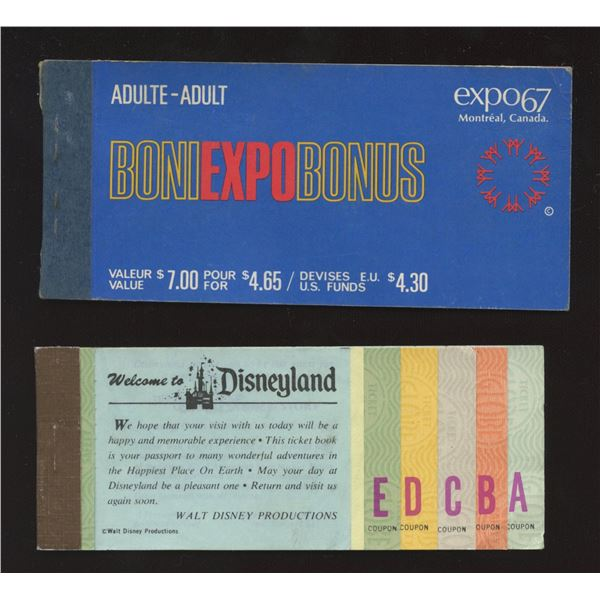 H. Don Allen Collection - Partial Booklets of Tickets, Expo 67 and Disneyland.