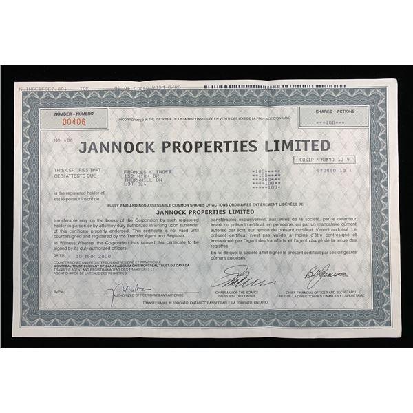 Central Capital Corp & Jannock Properties Ltd Share Certificates