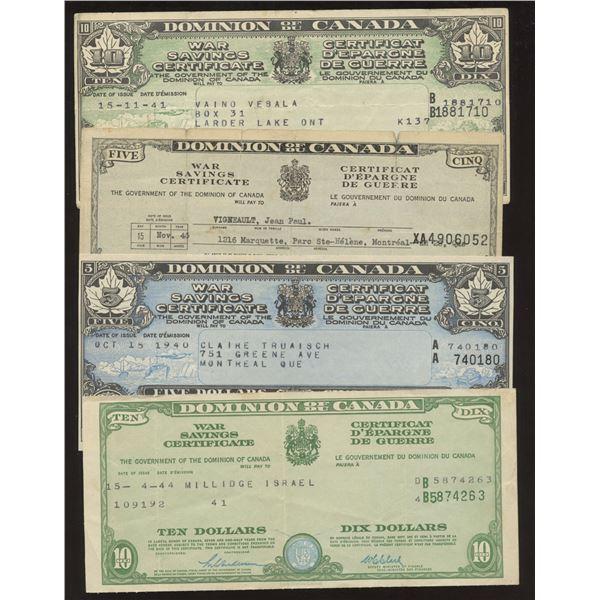 H. Don Allen Collection - Dominion of Canada War Savings Certificates