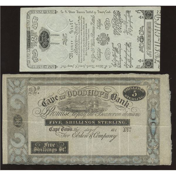 H. Don Allen Collection - Austria, Cape of Good Hope Bank, Mexico Revolutionary Note