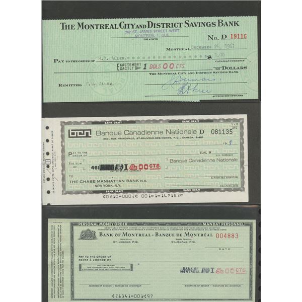H. Don Allen Collection - Collection of Money Orders, Bank Drafts, Private Banks, Cheques, Samples