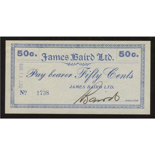 James Baird Ltd. 50 Cents Newfoundland Scrip, 1916