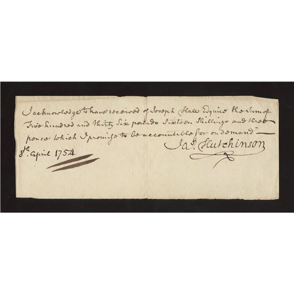 Promissory Note dated 8th April, 1754