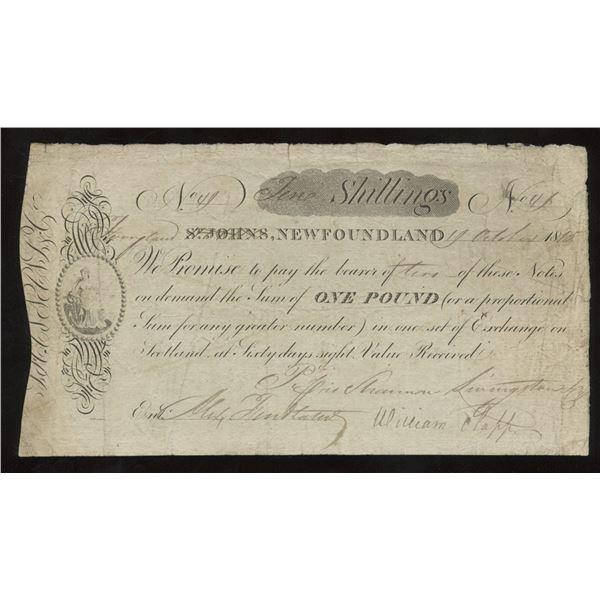 SHANNON, LIVINGSTON & CO. Ferryland, NL. Ten Shillings. 1 October, 1815