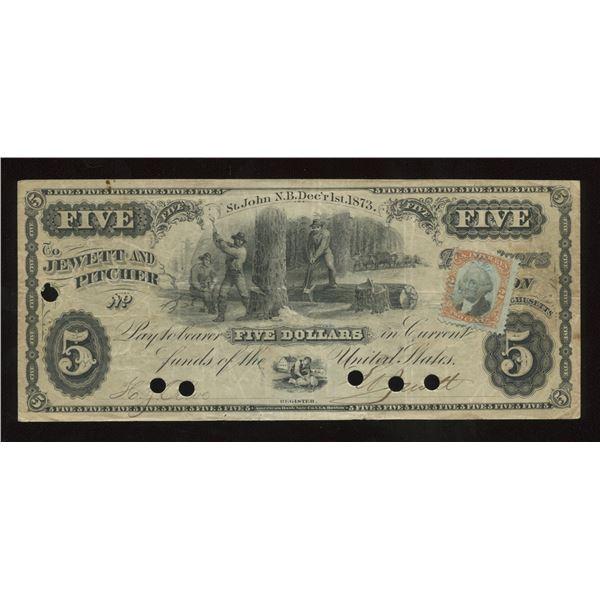 Jewett & Pitcher New Brunswick $5, 1873