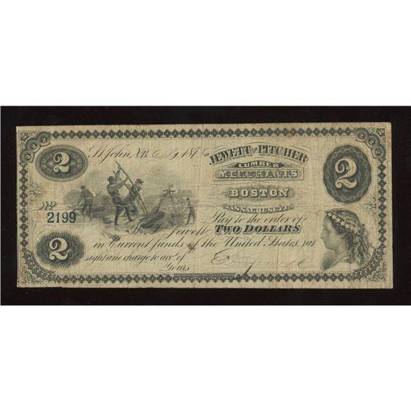 Jewett & Pitcher New Brunswick $2, 1875