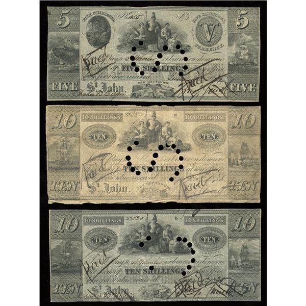 Benjamin Smith Five & Ten Shilling, 1835 - Trio