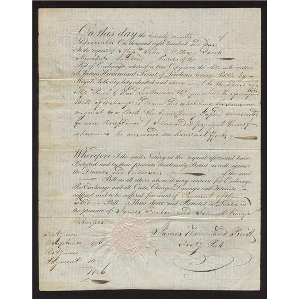 Quebec Bill of Exchange dated 29 December, 1804