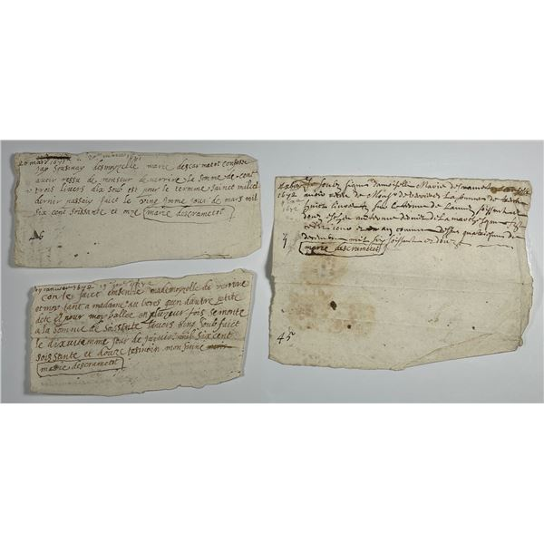 Three French Promissory receipts dating 1671-1672 from Marie Descrametot.