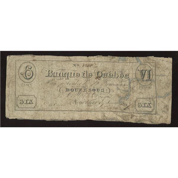Banque de Quebec Douze Sous/6 Pence, 1837 - Counterfeit